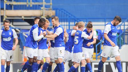 Ipswich Town's players celebrate Paul Green's goal against AFC Bournemouth
