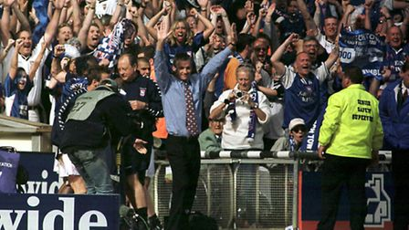 George Burley celebrates Ipswich Town's promotion in 2000