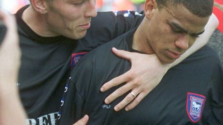 Matt Holland consoles Kieron Dyer in 1999 as Town miss out on second place on the final afternoon of