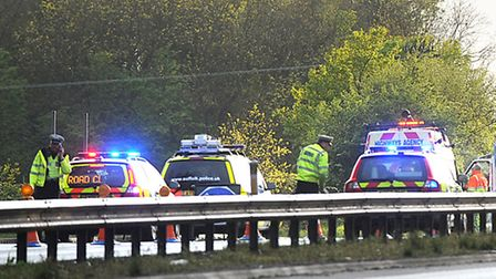 A previous accident on the A14 in Bury St Edmunds