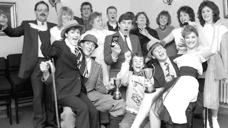 Stowmarket Young Farmers with their dancing trophies February 1989