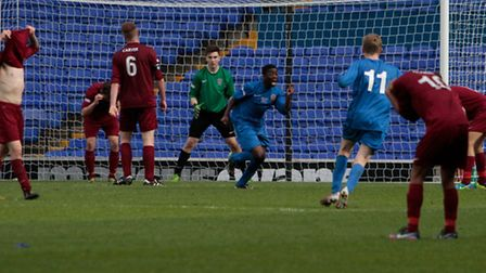 Lancashire's Cory Bent scores the winner in extra-time against Suffolk FA in the FA County Youth Cu