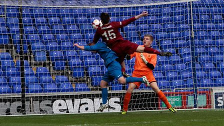 Sam Thrower scores for Suffolk FA against Lancashire in the FA County Youth Cup Final at Portman Roa