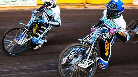 Richie Worrall (red helmet) and Gino Manzares (blue)