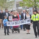 People gathered outside Clacton Town Hall to protest and march against the closure of the maternity