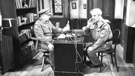 Arthur Lowe and John Le Mesurier rehearse a scene from the 1972 episode 'Getting the Bird'. Note the