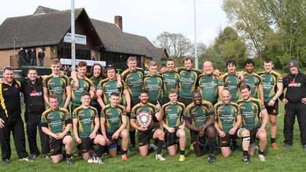 The Bury Wolfhounds celebrate their Suffolk Plate victory over Colchester