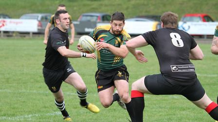 Bury Wolfhounds captain Ben Scully on the run in the Suffolk Plate Final against Colchester Wolfhoun