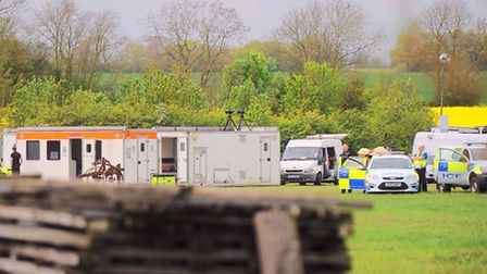 The large scale police presence in Potash Road, Wyverstone.
