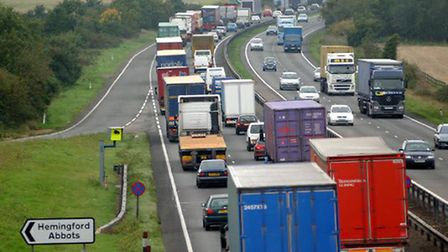 Congestion on part of the A14 near Huntingdon.