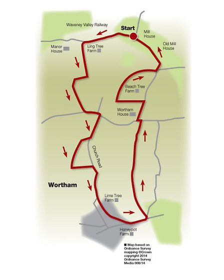 Route of the Wortham walk