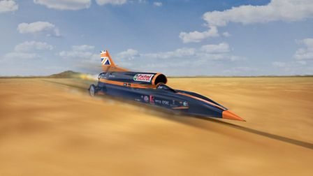 An artists impression of the Bloodhound SSC in the desert where the team plan to make an attempt on