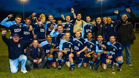 Victorious Grundisburgh with the Bob Coleman Cup.Grundisburgh V East Bergholt (Bob Coleman Cup Fina