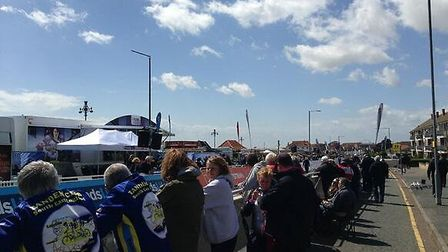 Crowds gathered in Clacton for the arival of The Women's Tour