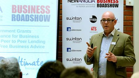 Gary Douglas-Beet of Business Shaper speaking at the first New Anglia Business Roadshow in Bury St E