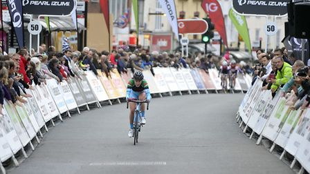 Hannah Barnes leads the Johnsons Health Tech Grand Prix womens cycle race in Colchester last year.