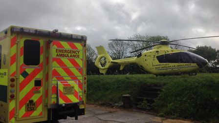 The East Anglian Air Ambulance was called to Wetheringsett near Stowmarket. Photo: East Anglian Air