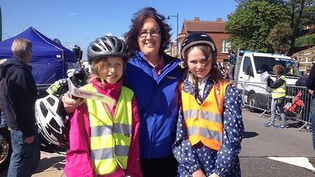 Teachers and pupils from Trimley St Martin primary school cycled out before the big name stars