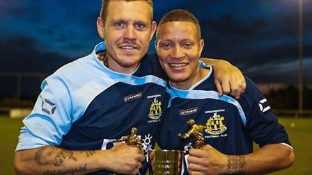 Goal scorers Dean Tournam-Godfrey (left) and Mical Moore with the Bob Coleman Cup.Grundisburgh V Ea