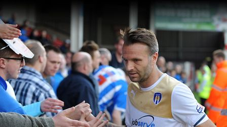 Karl Duguid says goodbye to the U's fans after coming on for the last time as a player at Walsall