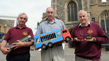 Peter Worton, Bill Bourne and Derek Reeve prepare for the uncoming Hobby Expo in Sudbury.