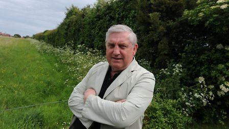 Trevor Lockwood is worried that developers may remove a 500 year old hedgerow in Felixstowe.