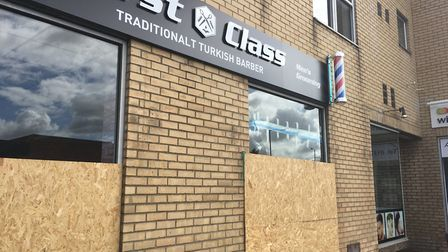First Class Turkish Barbers in Diss which had its windows smashed in the early hours of August 1. pi