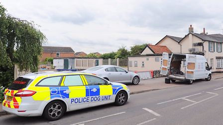 Highbury Barn pub, Great Cornard, Sudbury. Police have been called to evict a squatter from the clos