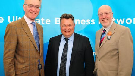From left, New Anglia LEP chairman Mark Pendlington, Suffolk County Council leader Mark Bee and Suff