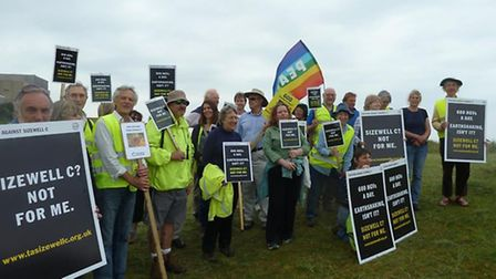 Members of Together Against Sizewell C (TASC) walked in protest along the along B1122.