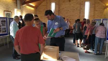Long Stratton residents view plans for 1,800 homes and a long-awaited bypass. Picture:Lucy Begbie