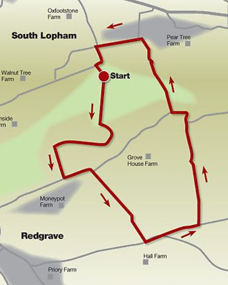 Route of the walk that passes through Redgrave and Lopham Fen nature reserve