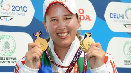 Nicky Hunt with both her Commonwealth gold medals from the 2010 Delhi Commonwealth Games
