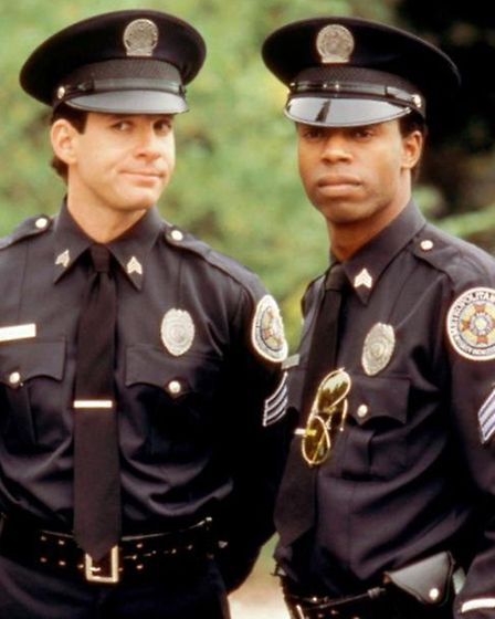 Steve Guttenberg and Michael Winslow in Police Academy 4 Citizens on Patrol.