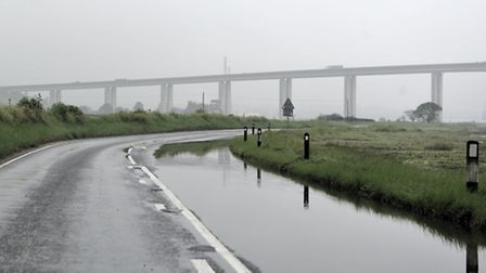 A lane of the Wherstead strand flooded on Tuesday, 27 May.