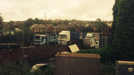 The scene after a lorry crashed into a railway bridge in Manningtree