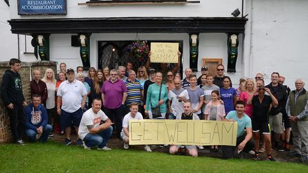 Fundraisers at The Saracen's Head in Diss raise over £1500 in aid of Sam James. Picture: Tracey Alle