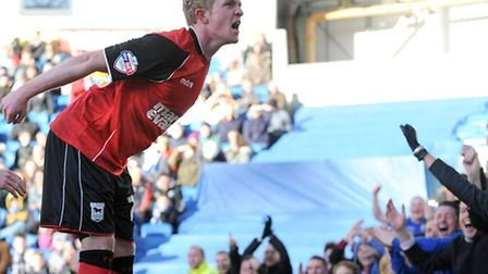 Ipswich Town's Jonny Williams celebrates with the Town fans after the second goal in a 2-0 win at Br
