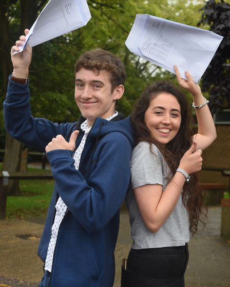 Matthew Tyler and Harriet Budds celebrate their A Level results at Diss High School. Picture: DENISE