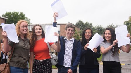 High achievers celebrate their A Level results at Diss High School. From left, Chantelle Lee, 18; La