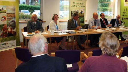 More than 60 farmers attended a hustings event with MEP candidates at the NFU headquarters in Newmar