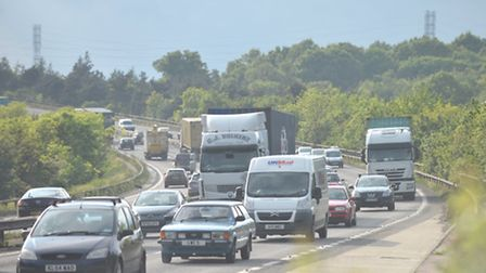 The A14 was congested in both directions due to an accident near Jimmy's Farm in Wherstead.