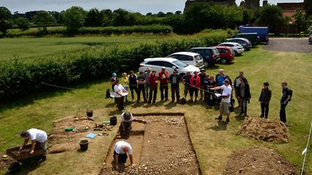 Aerial view of the DigVentures team hard at work in the car park at Leiston Abbey in July 2013