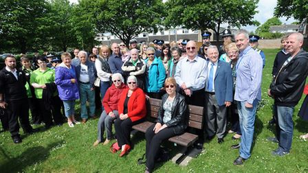 The memorial bench is unveiled in memory of PCSO Sue Medcraft at the New Bury Community Centre in Bu