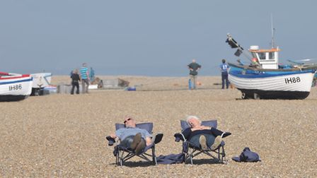 Visitors making the most of the warm weather on Aldeburgh beach last month