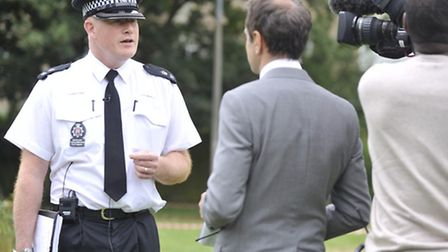 Chief Inspector Richard Phillibrown, district commander for Colchester, gives an interview following