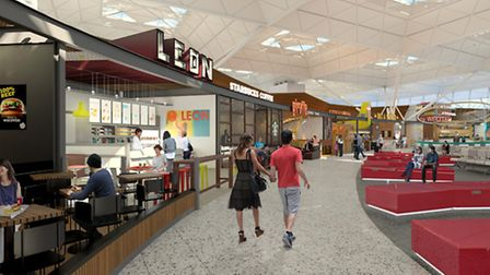 A computer-generated image of the new restaurant and bar area at Stansted Airport.