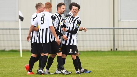 The celebrations are in full swing after Danny Beaumont had converted an early free kick during Dere
