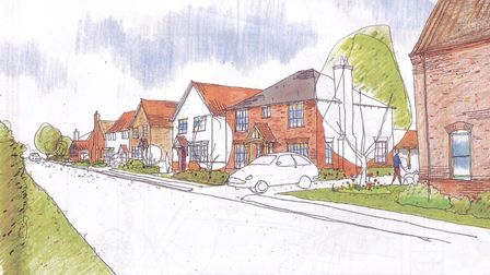 View of proposed residential development looking north along Norwich Road in Bracon Ash. Picture Cha
