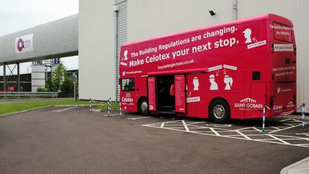 The Celotex bus back at the company's headquarters at Hadleigh.